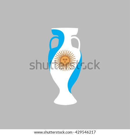 Vector flat style cup with Argentine Republic state flag. Symbol with stripes sun emblem. Sport competition, football, soccer, olympics, olympic games winners trophy prize sign. world football leader - stock vector