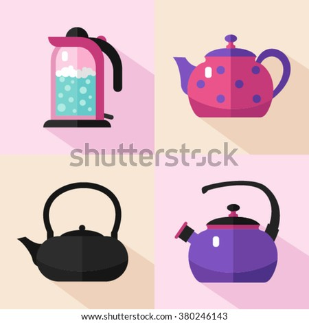 Vector flat style icons set of different types of kettles with long shadows. Electric, coffee pot, kettle with boiling water. Kitchen utensils stock illustration. - stock vector