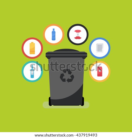 Vector flat style illustration of colorful garbage container. Recycle garbage bin for waste separation.  Garbage sorting: glass, food,  metal, plastic, paper.  - stock vector