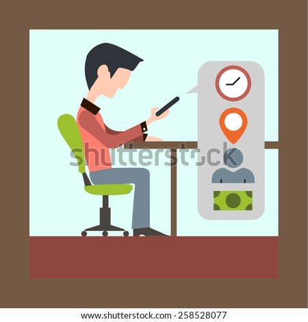 Vector flat-style illustration of man with smartphone and multitask bubble with icons - stock vector