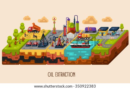 Vector flat style infographic of oil extraction, oil rig, oil pumping station, oil delivery and storage, oil factory, gas station. Isometric illustration. - stock vector