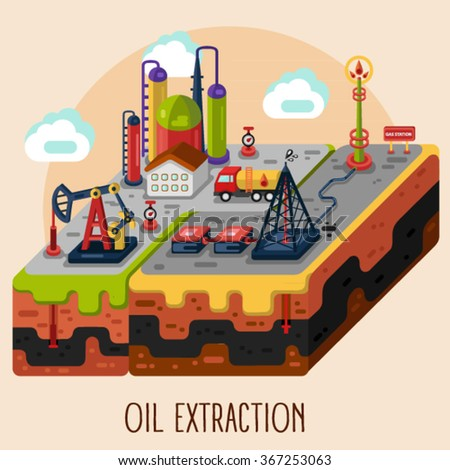 Vector flat style infographic of oil or gas extraction, rig, pumping station, delivery and storage, factory. Isometric illustration modern concept. - stock vector