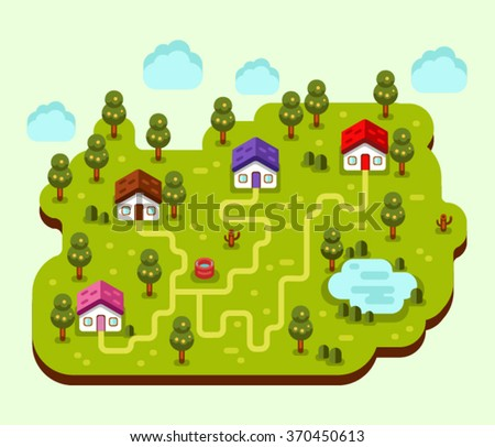 Vector flat style isometric 3d stock illustration of cartoon summer village, trees, well, footpath and pond, clouds. - stock vector