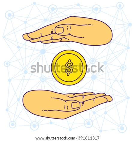 Vector flat style on background. Illustration of bank technology and services for presentation. Dollar gold coin in hand. Investment and exchange. Keeping the money in bank deposit account. Save cash. - stock vector