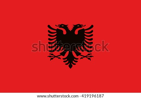 Vector flat style Republic of Albania state national flag. Official design of albanian flag. Symbol with two-headed eagle isolated on red. Independence day, holiday, web button. illustration template - stock vector