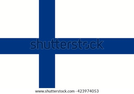 Vector flat style Republic of Finland state flag. Official design of finnish national flag. Symbol with two blue crossed stripes, scandinavian cross. Independence day, holiday, web button. Add text - stock vector