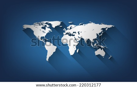 Vector flat style world map illustration on background. - stock vector