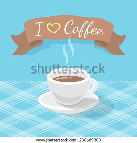 Vector flat stylized illustration of a coffee cup on a checkered tablecloth with a ribbon and inscription - stock vector