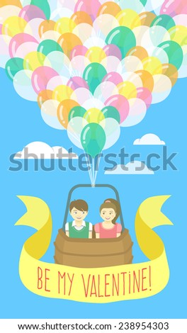 Vector flat stylized illustration of a couple in love flying on balloons with ribbon and greeting inscription. Valentine's Day card design. - stock vector