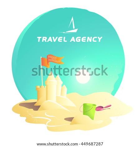 Vector flat summer holiday illustration. Travel agency company logo insignia. Boat, ship, yacht icon. Cartoon style. Sea rest accessory. Season advertising backdrop. Flayer, banner, poster card design - stock vector