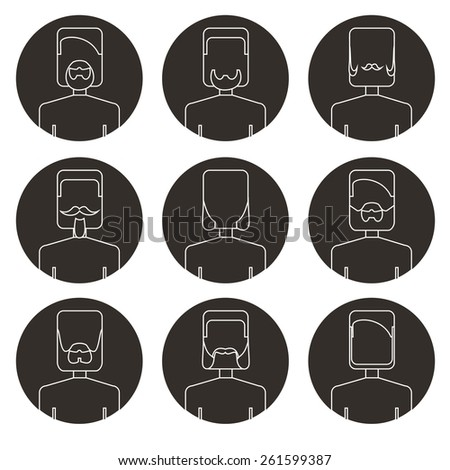 Vector flat thin contour icon set avatar beard man. Line art. - stock vector