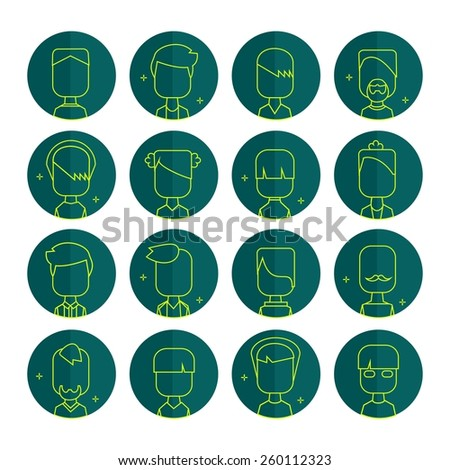 Vector flat thin contour icon set avatar people. Line art. - stock vector