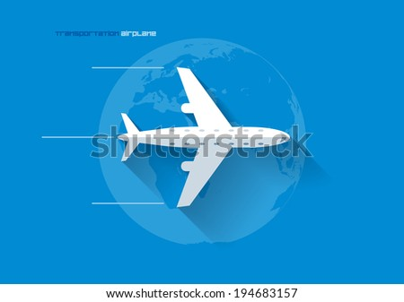 Vector flat transportation concept icon illustration. Airplane. - stock vector