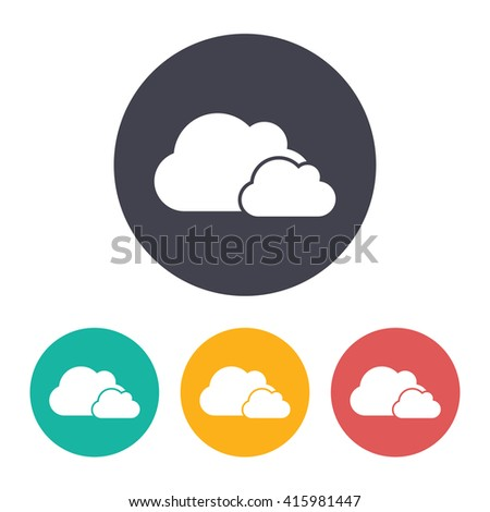 Vector flat two clouds icon with set of 3 colors  - stock vector