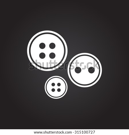 Vector flat white tailor button icon on dark background  - stock vector