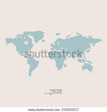 Vector flat world map - stock vector