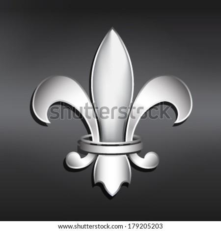Vector Fleur de Lis. Silver style - stock vector