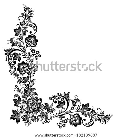 Vector floral background. Russian traditional ornament Hohloma. black and white design elements - stock vector