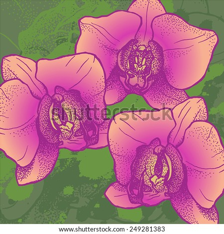 vector floral background with three orchids on grunge texture in bright colors - stock vector