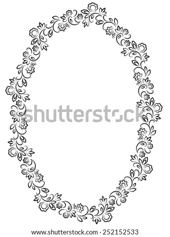 vector floral black oval frame on white background - stock vector