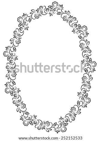 vector floral black oval frame on white background - stock vector