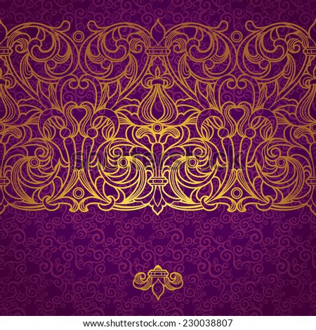 Vector floral border in Victorian style. Ornate element for design, place for text. Ornamental vintage pattern for wedding invitations and greeting cards.Traditional golden decor on purple background. - stock vector
