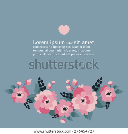 Vector floral card decor. Beautiful decorative flower element for wedding invitations, cards and textile - stock vector