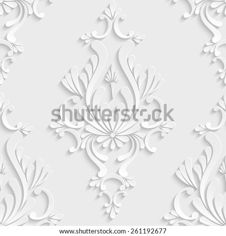 Vector Floral Damask 3d Seamless Pattern Background. Decoration For Wallpaper or Invitation Card - stock vector