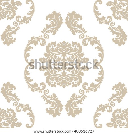 Vector floral damask pattern background. Luxury classic floral damask ornament, royal Victorian vintage texture for wallpapers, textile, fabric. Beige Floral baroque element - stock vector
