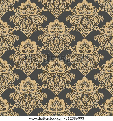 Vector Floral damask seamless pattern background. Elegant luxury texture for wallpapers, backgrounds and page fill. - stock vector