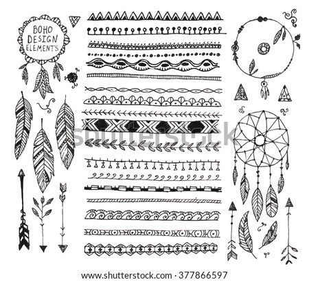 vector floral decor set, collection of hand drawn doodle boho style dividers, borders, arrows design elements, dream catchers. Isolated. May be used for wedding invitations, birthday cards, banners - stock vector