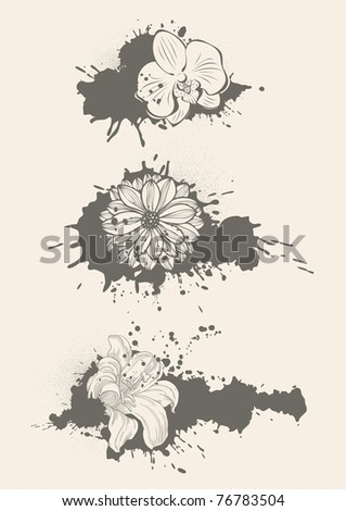 vector floral elements - stock vector