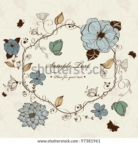 Vector floral frame - stock vector