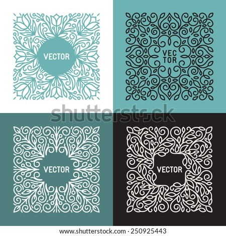 Vector floral frame with copy space for text in trendy mono line style - monogram design element  - stock vector