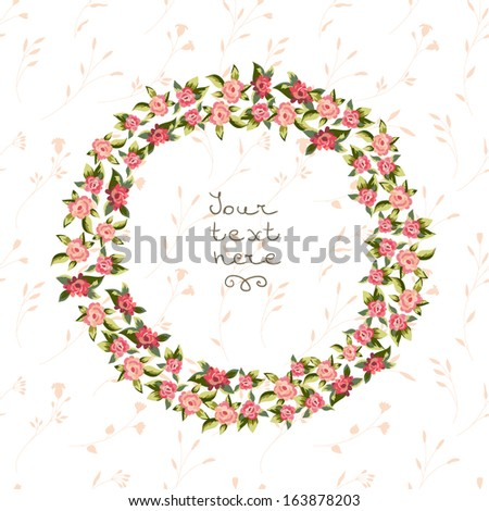 Vector floral frame with roses  - stock vector