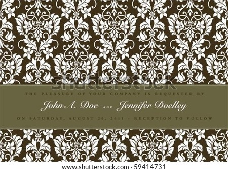 Vector floral frame with sample text and borders. Perfect as invitation or announcement. All pieces are separate. Easy to change colors and edit. - stock vector