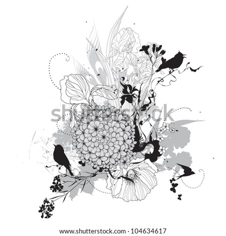 Vector floral graphic black and white - stock vector