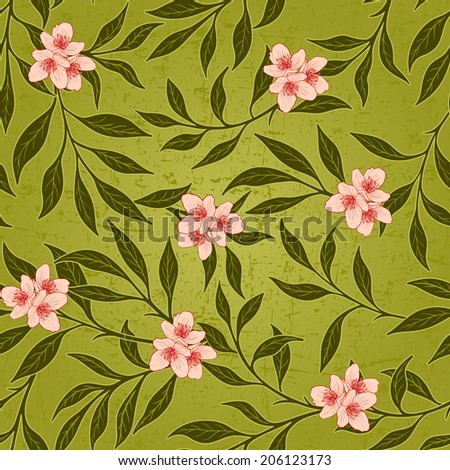 Vector floral grunge seamless background with scratch and attrition. - stock vector