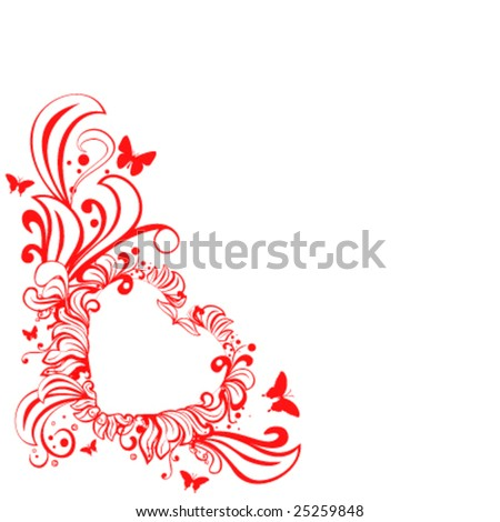 vector floral heart - stock vector