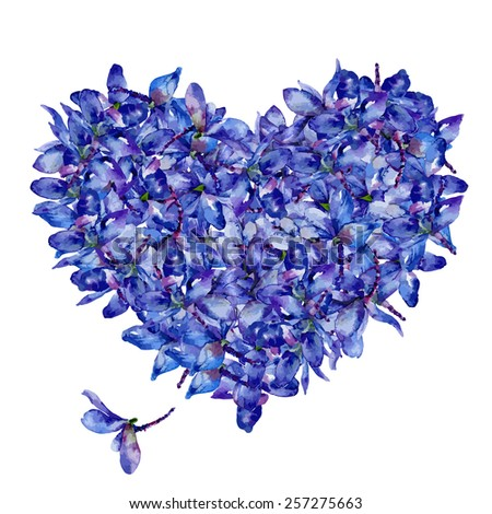 Vector floral heart of delphiniums. Card on Valentine's Day - stock vector