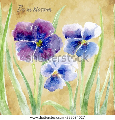 Vector floral illustration for different occasions. Cute summer and spring card. Pansy flowers on the vintage background. Viola tricolor - stock vector