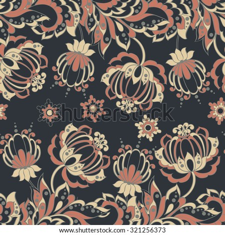 Vector Floral Illustration in asian textile style.  Seamless pattern with Ethnic Flowers. - stock vector