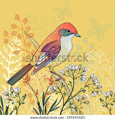 vector floral illustration of a colorful bird and blooming herbs  - stock vector