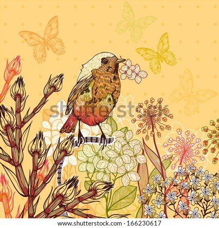 Vector floral illustration of a little bird and blooming summer flowers - stock vector
