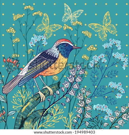 vector floral illustration with a bird and blooming flowers - stock vector