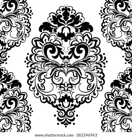 Vector floral lace pattern in Oriental style. Ornamental lace pattern for wedding invitations, greeting cards, wallpaper, backgrounds, fabrics, textile. Traditional decor. Black - stock vector