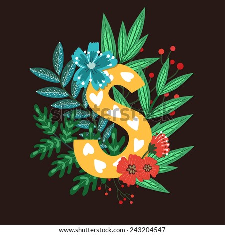 Vector floral letter made from leaves, branches, berries and flowers. Bright botanical alphabet. Vintage hand drawing character. Letter S. - stock vector