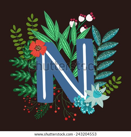 Vector floral letter made from leaves, branches, berries and flowers. Bright botanical alphabet. Vintage hand drawing character. Letter N. - stock vector