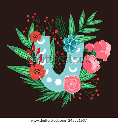 Vector floral letter made from leaves, branches, berries and flowers. Bright botanical alphabet. Vintage hand drawing character. Letter U. - stock vector