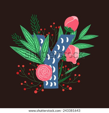 Vector floral letter made from leaves, branches, berries and flowers. Bright botanical alphabet. Vintage hand drawing character. Letter Y. - stock vector